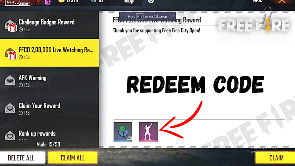 Free Fire Today Redeem Code